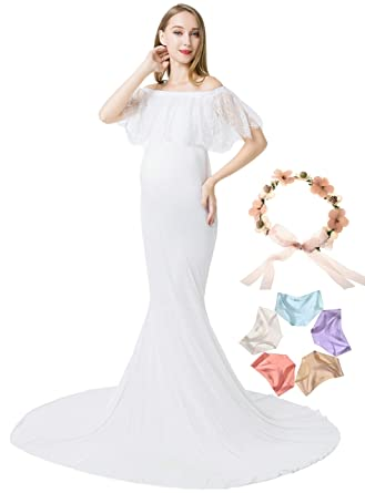 c57c031525b99 Sannyway Maternity Dress for Photography Off Shoulder Photoshoot Maxi Gown  for Baby Shower (White, One Size) at Amazon Women's Clothing store: