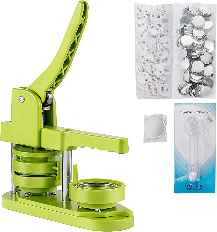 YAOBAO Máquina para Fabricar Botones, 1-1/2 Inch (37 mm) Máquina para Hacer Insignias Botones Mango 21,5 cm Máquina para Hacer Pines Chapas Personalizadas Diseño De Montaje Giratorio