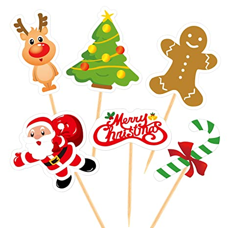 Christmas Cupcake Toppers.Fepito 60 Pieces Christmas Cupcake Toppers Picks Merry Christmas Toothpick Flags For Christmas Cake Decorations Christmas Party Holiday Supplies