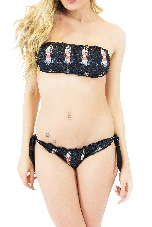 PIN UP Schwarz - Brazilian Bikini gepolsterter Kopfbügel und 100% in Italien neue Kollektion 2015 Millennium Stern gemacht