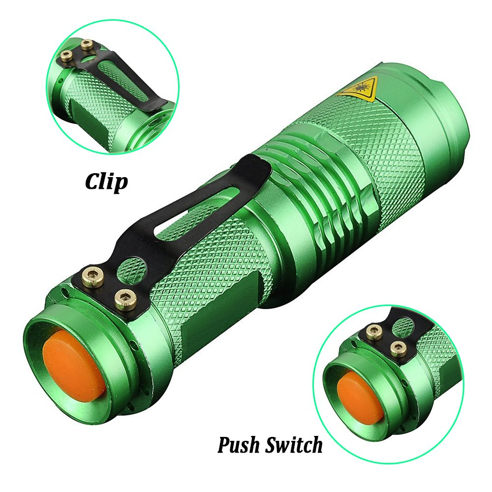 Pack of 5,Pocketman 7W 300LM SK-68 3 Modes Mini Q5 LED Flashlight Torch Tactical Lamp Adjustable Focus Zoomable Light by POCKETMAN (Image #3)