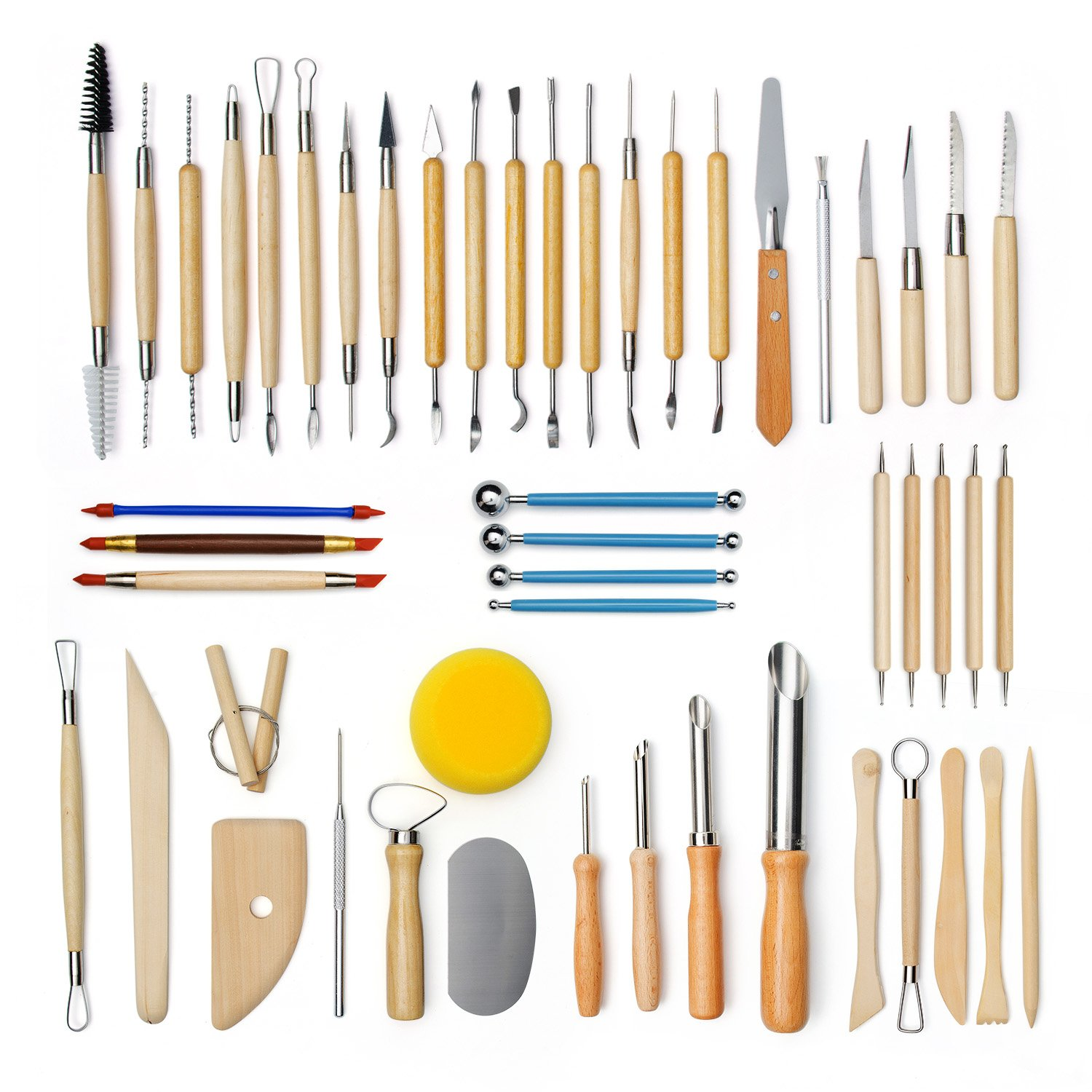 Lighwish 51Pcs/Set Pottery Clay Sculpture Tools Plasticine Carving Tool Set for Brushing Scraping Cleaning Wood and Stainless Steel