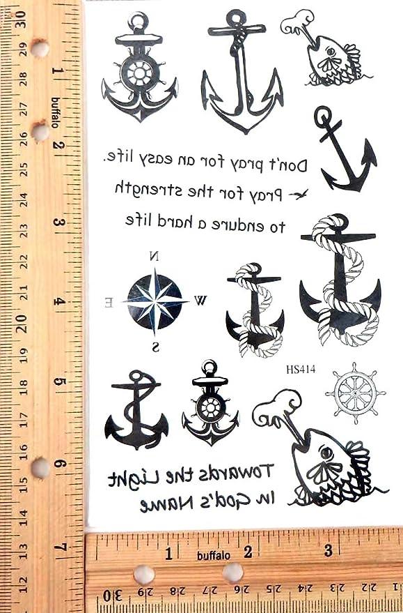 nautical anchor marine temporary tattoo tattoo body art