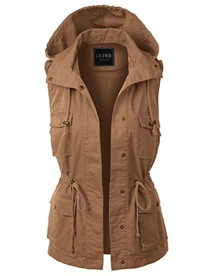 095b2e47792 LE3NO Womens Lightweight Sleeveless Military Anorak Vest