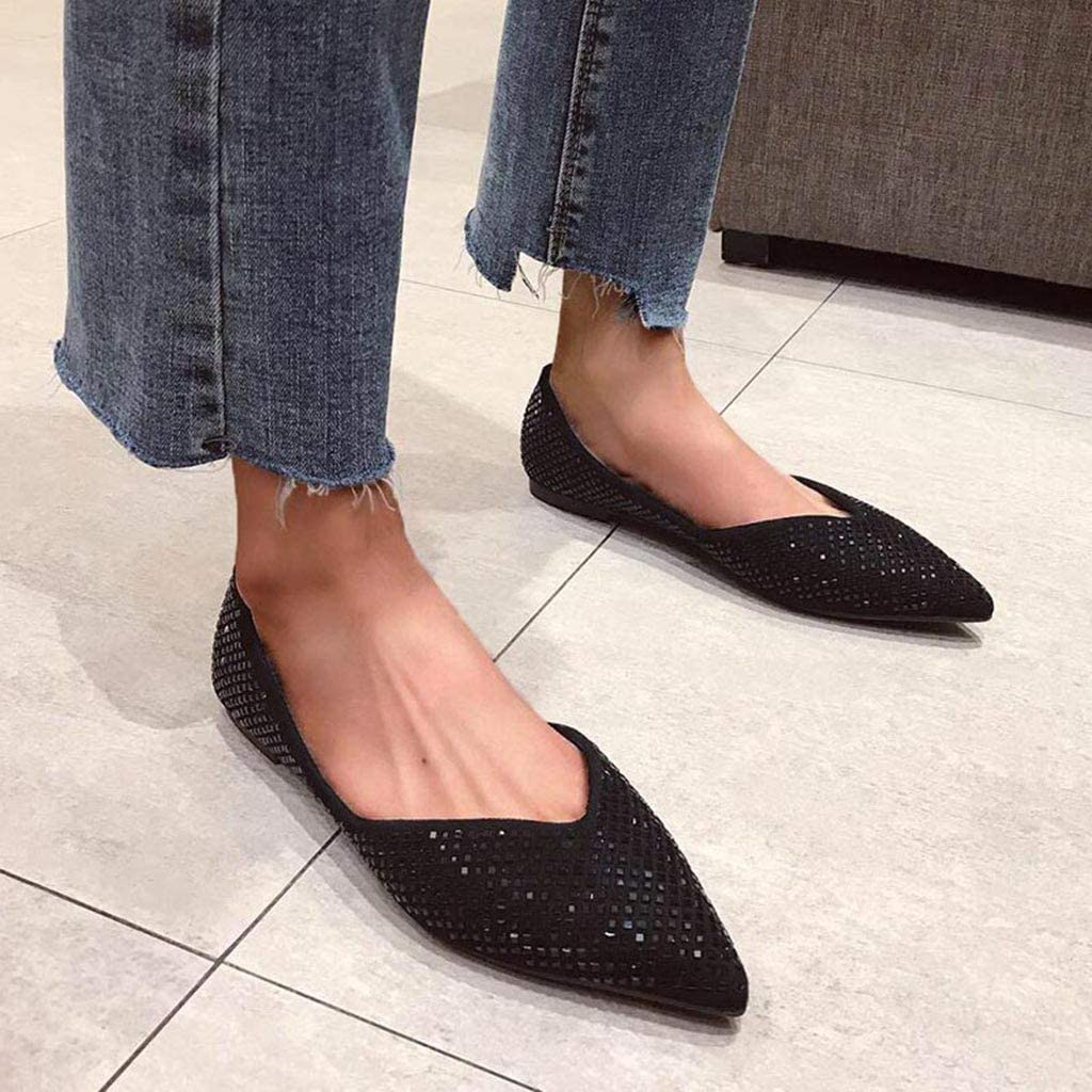 Womens Rhinestone Shallow Dance Shoes Trendy Glitter Pointed Toe Flat Soft Foldable Single Shoes Comfy Slip On Dress Shoes