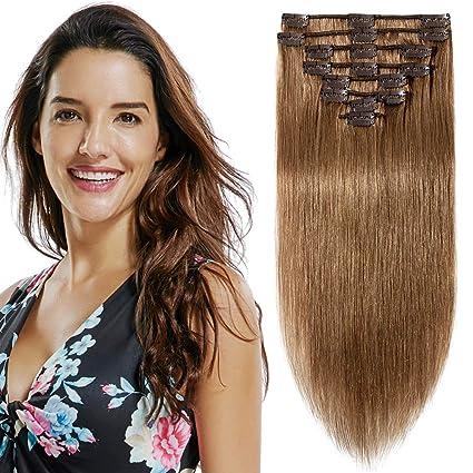 Extensiones de Pelo Natural Clip Cabello Humano 100% REMY Hair 8 Piezas 18 Clips Pelucas