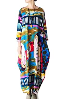 0d3460bdc1b Simgahuva Womens Linen Maxi Dress Floral Loose Long Sleeve Shift Dresses