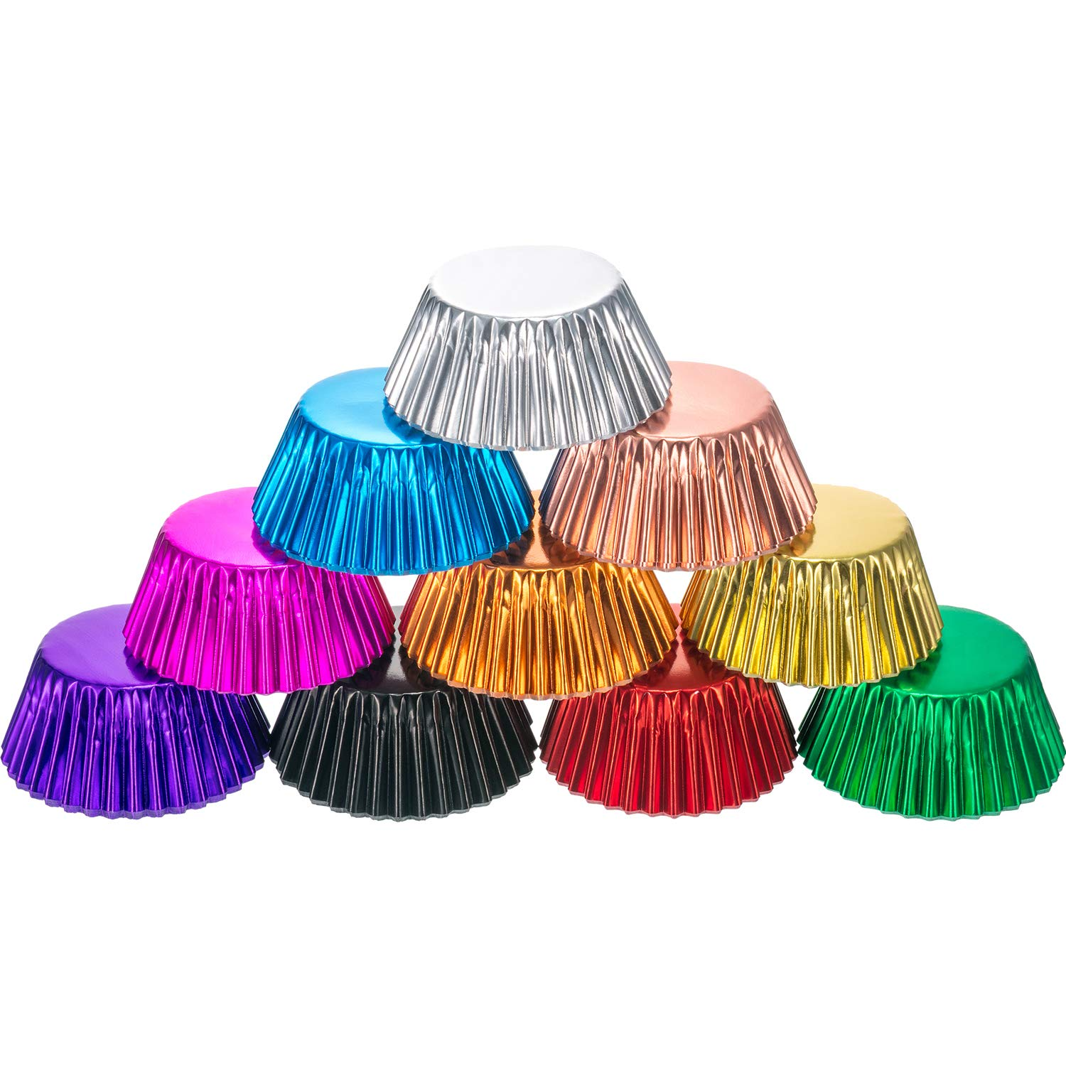 Sumind 10 Colors Standard Paper Baking Cups Foil Cupcake Liners Muffin Case Decoration Cups(200 Pieces)