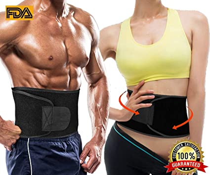 3b55a35488 Waist Trimmer Sweat Trainer(All Black Enhancer for Men and Women Exercise  Workout Adjustable Fat