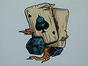 Mg018 Aufkleber Ass Karten 11x9cm Flammen Poker Spieler Rockabilly Old School Rockabella Tattoo Ink Vintage Retro Auto