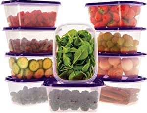 Oursson Food Storage Containers with Lids Airtight, BPA Free, Lunchbox – Reusable and Practical – Transparent Snack Containers with Colored Lids (10 x 34 oz, Purple)