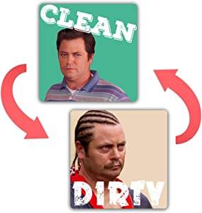 Ron Swanson - Dishwasher Magnet Clean Dirty Sign Strongest Magnet Double Sided Flip with Bonus Metal Magnetic Plate Universal Kitchen Dish Washer Reversible Indicator
