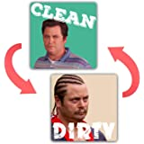 saizone Ron Swanson - Dishwasher Magnet Clean Dirty Sign Strongest Magnet Double Sided Flip with Magnetic Plate Universal Kit