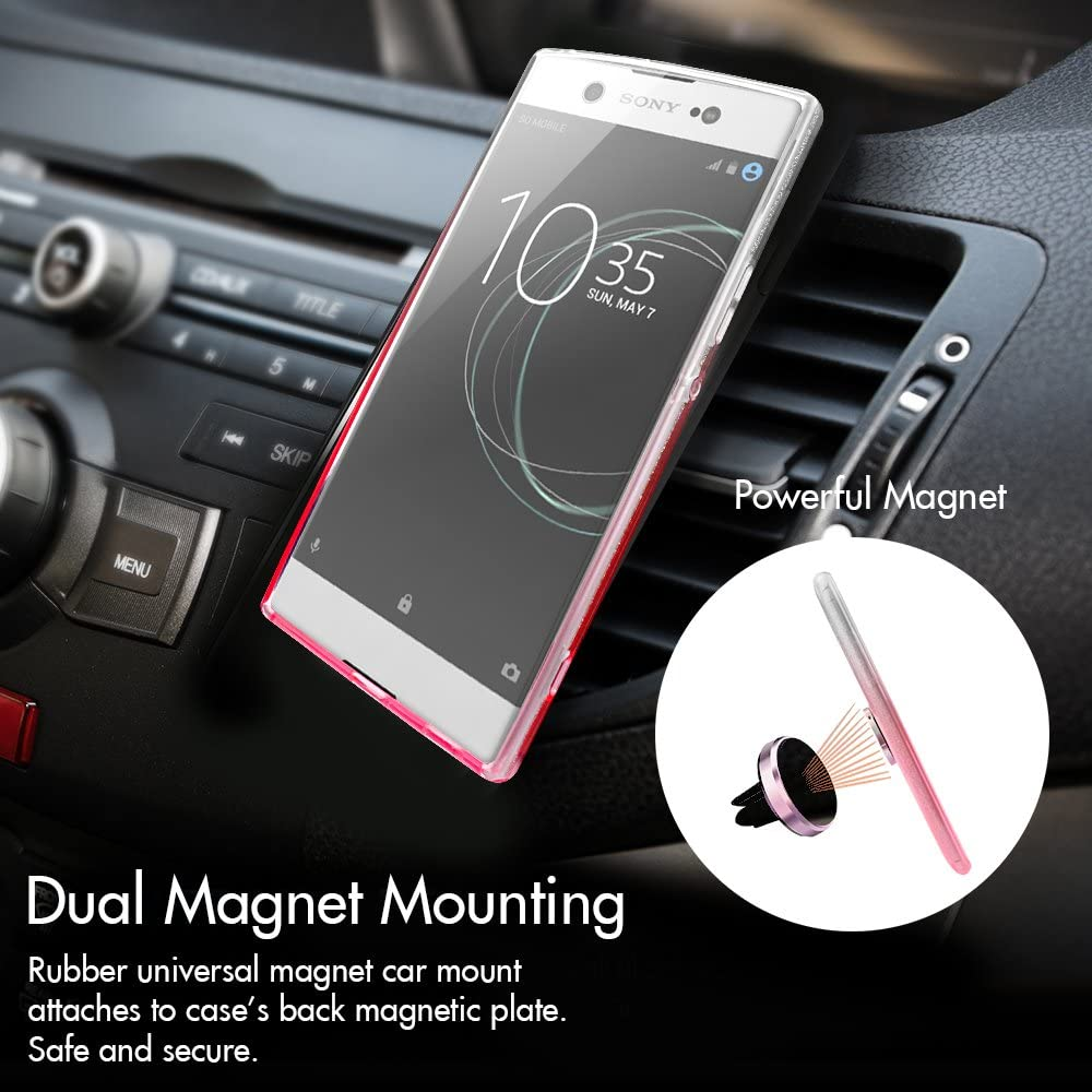 Soft TPU Outer Cover Silverback Girls Bling Glitter Sparkle Case With 360 Rotating Ring Stand Sony Xperia XA1 Case Hard PC Inner Shell Skin for Sony Xperia XA1 Case -Rose Gold