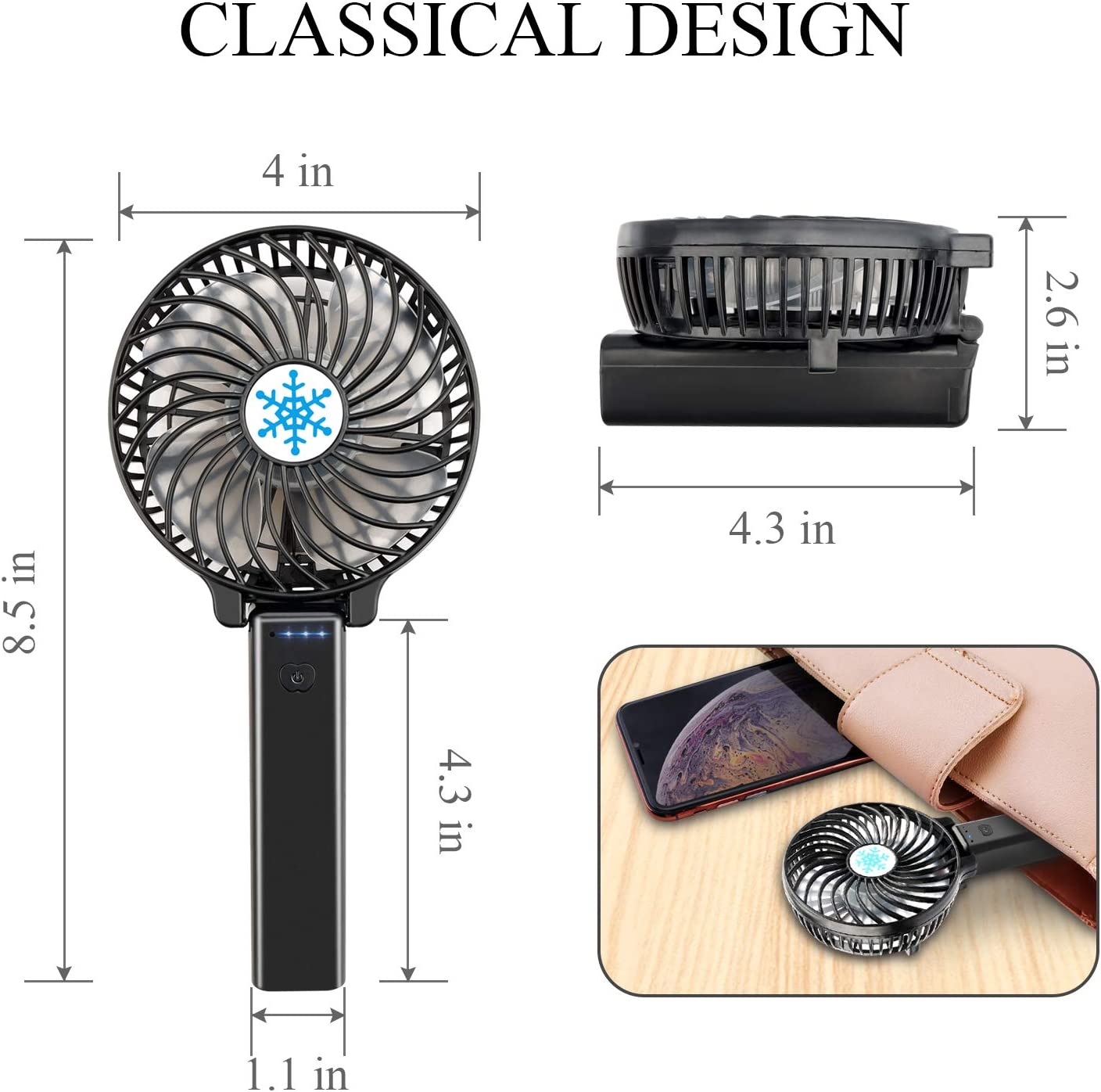 MelooLife Personal Portable Desk Stroller Table Mini Fan USB Rechargeable Battery Electric Fan for Office In-Door Outdoor Household and Traveling Portable Handheld Fan