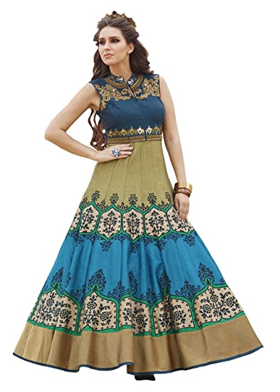 9baeb8efca60 Orange Fab Women's New Sky Blue & Cream Floor Touch Semi Stitched Designer  Printed Gown: Amazon.in: Clothing & Accessories