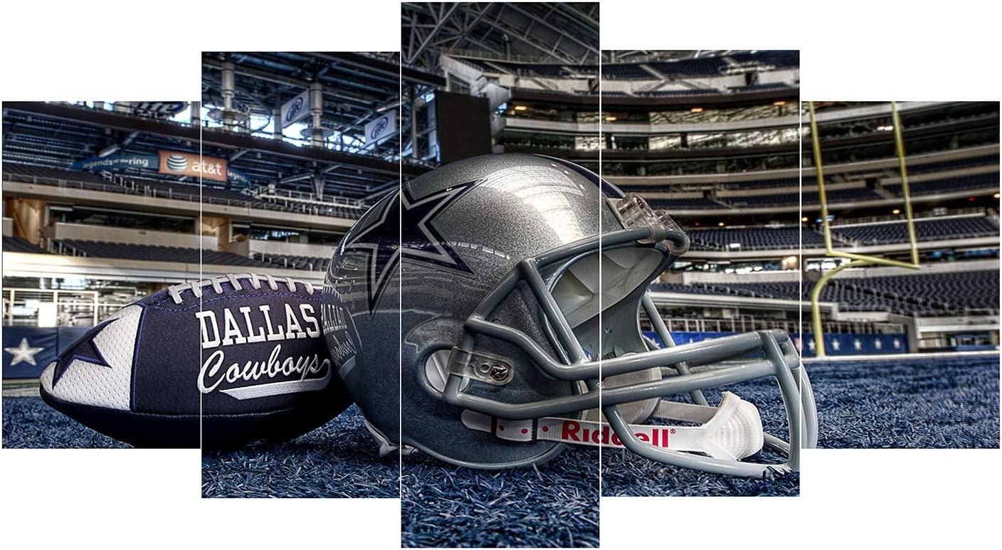 Pangoo Art 5 Piece Frameless Printed Dallas Cowboys Canvas Prints Painting Wall Art NFL Poster Prints Canvas Pictures Paintings on Canvas Wall Art for Home Decor Unframed Poster