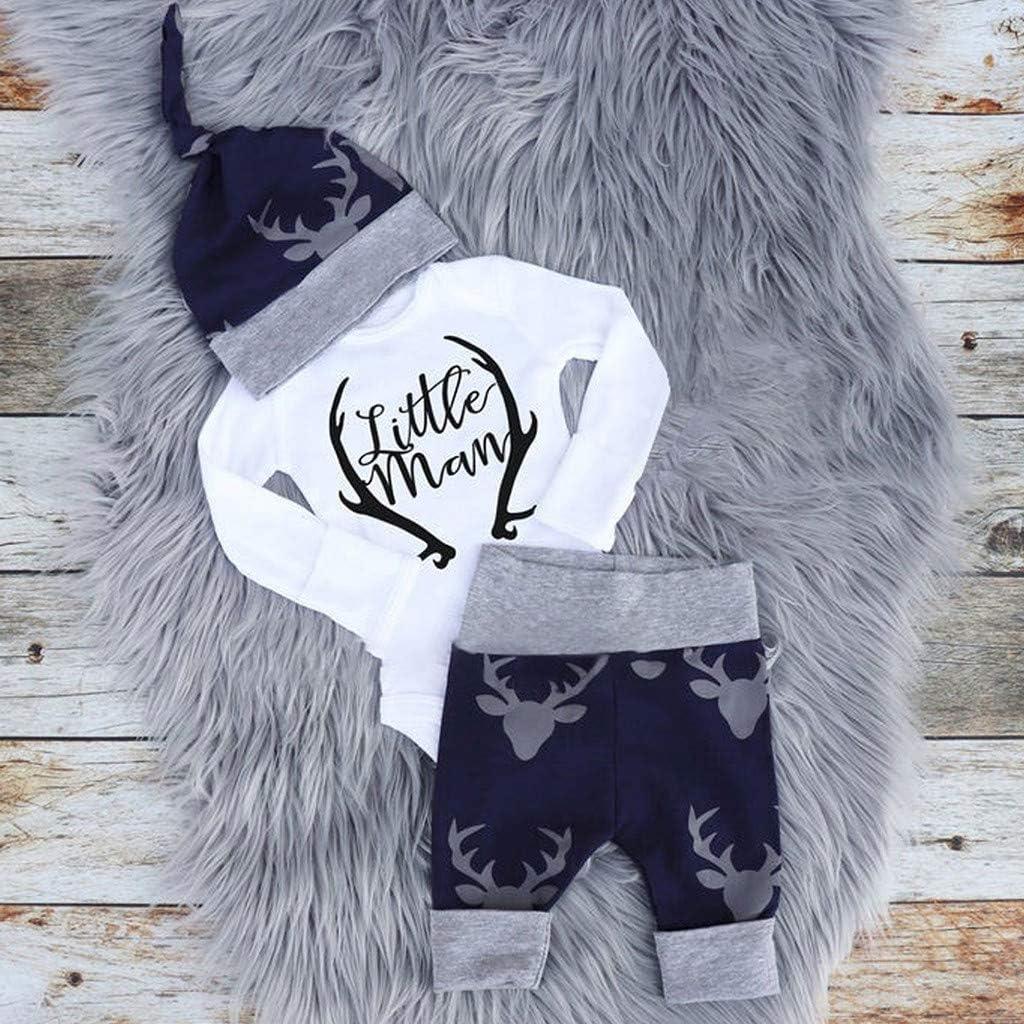 Hosen Sayla Babykleidung Winter Outfit Neugeborene M/ädchen Jungen 3pcs Baby Neugeborenes Kleidung Lange /Ärmel Strampler Overall Hut Outfits