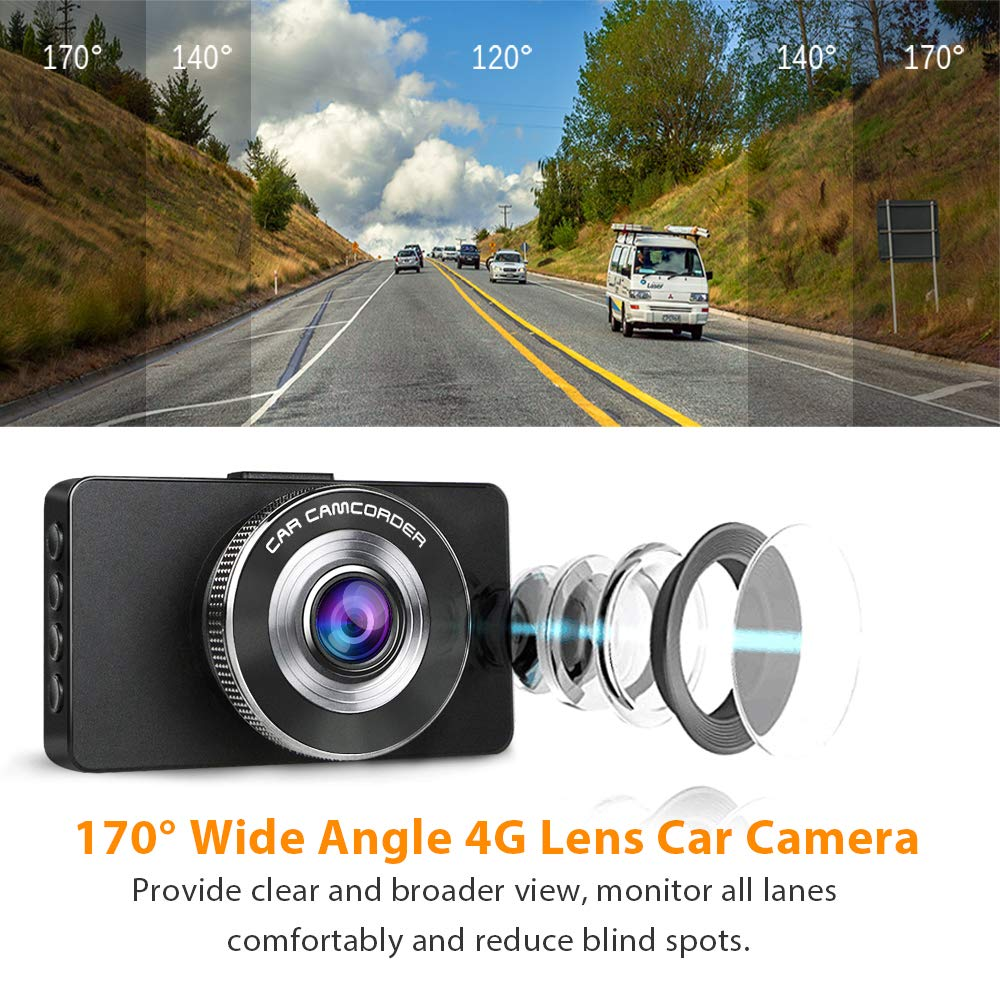 LED Compensation Ananteke Dash Cam,Dashboard Camera 1080P HD,Driving Video Recorder with 3 Inch LCD Parking Monitoring,Motion Detection G-Sensor