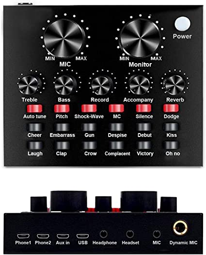 Professional Audio Mixer Sound Board Voice Changing Sound Card Live Streaming Multiple Sound Effect Audio Mixer for Game