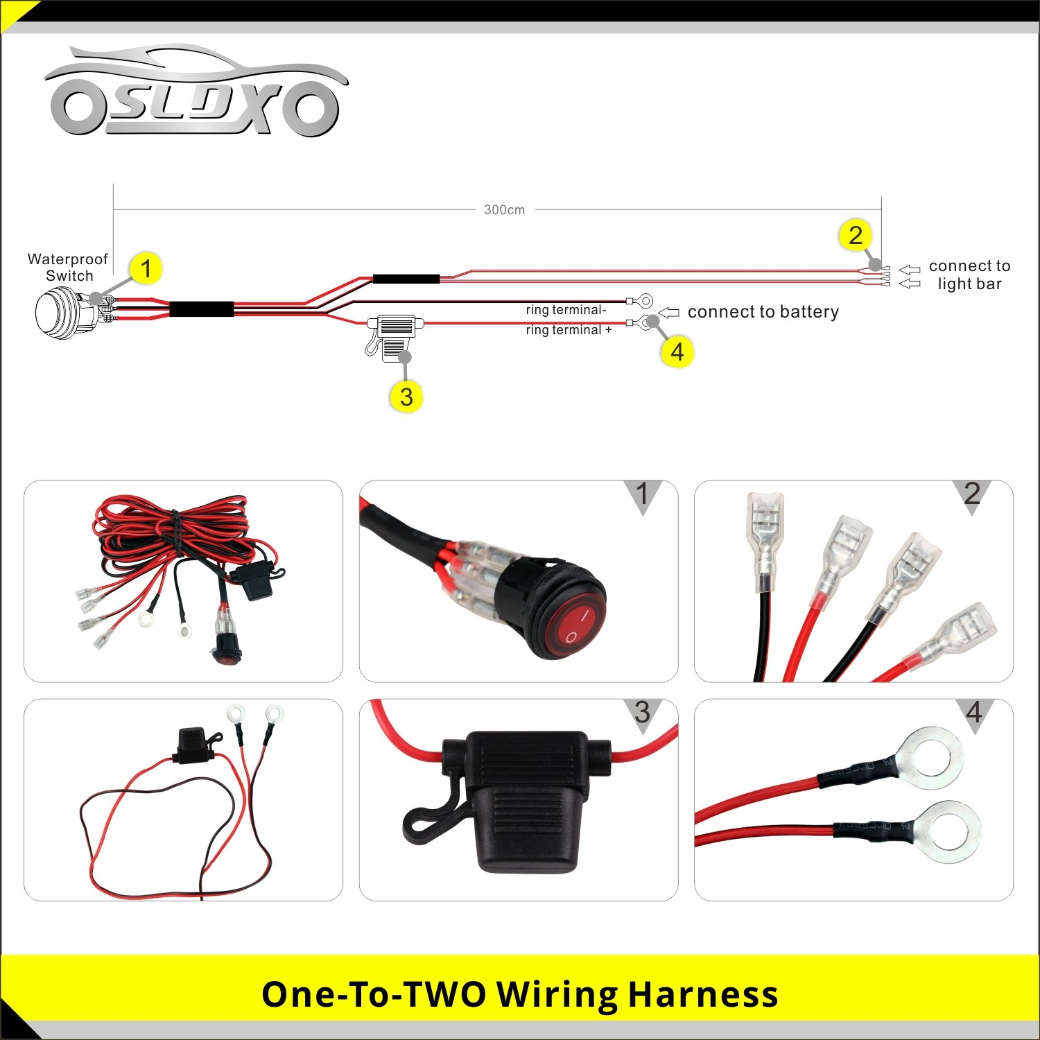 Sldx 288w 50inch Off Road Curved Combo Led Light Bar Wiring 3w Leds In Series 2pcs 18w Spot Free Harness Automotive