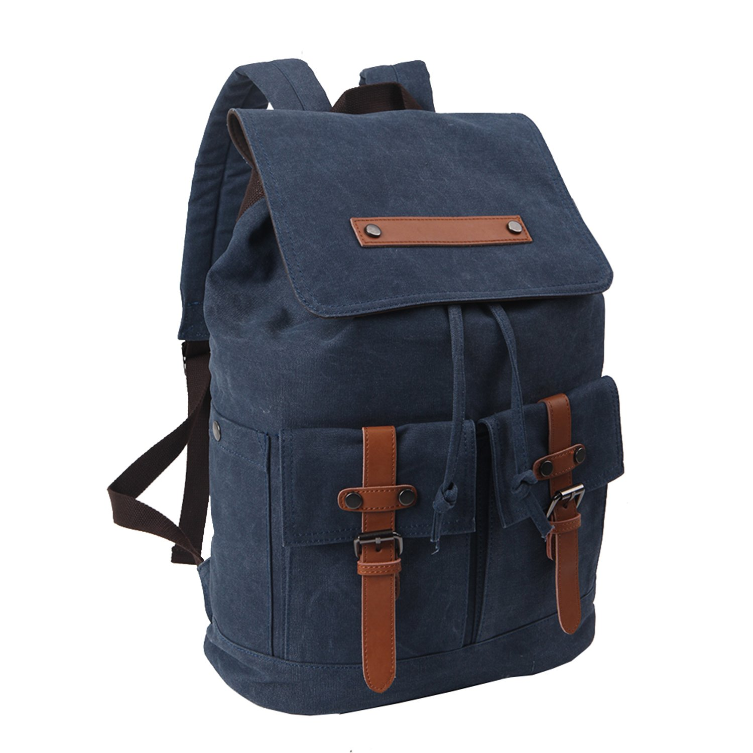 "Freeprint Vintage Canvas Laptop Backpack Travel Rucksack School Bag in Medium Size fits 15.6"" Computers for Men and Women, Blue"