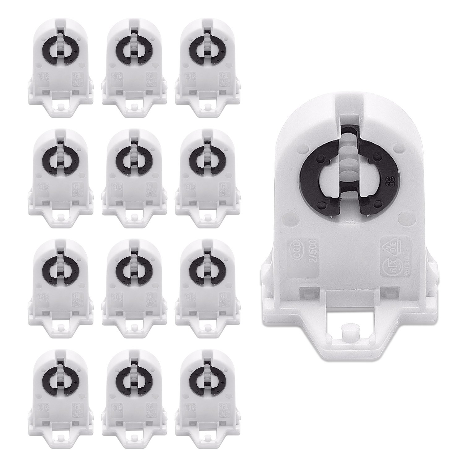 Screw Type T8 Lamp Holder JACKYLED 20-pack UL Non-shunted Light Socket For LED Fluorescent Tube Replacements