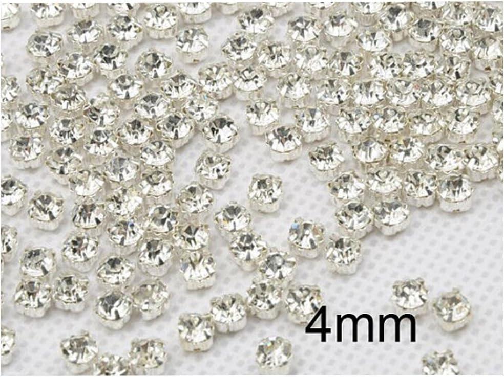 yycraft 200pcs anillos cristal coser en diamantes de imitación Checa cristal bañado en plata con base de latón taza de dientes, Plateado, 4 mm