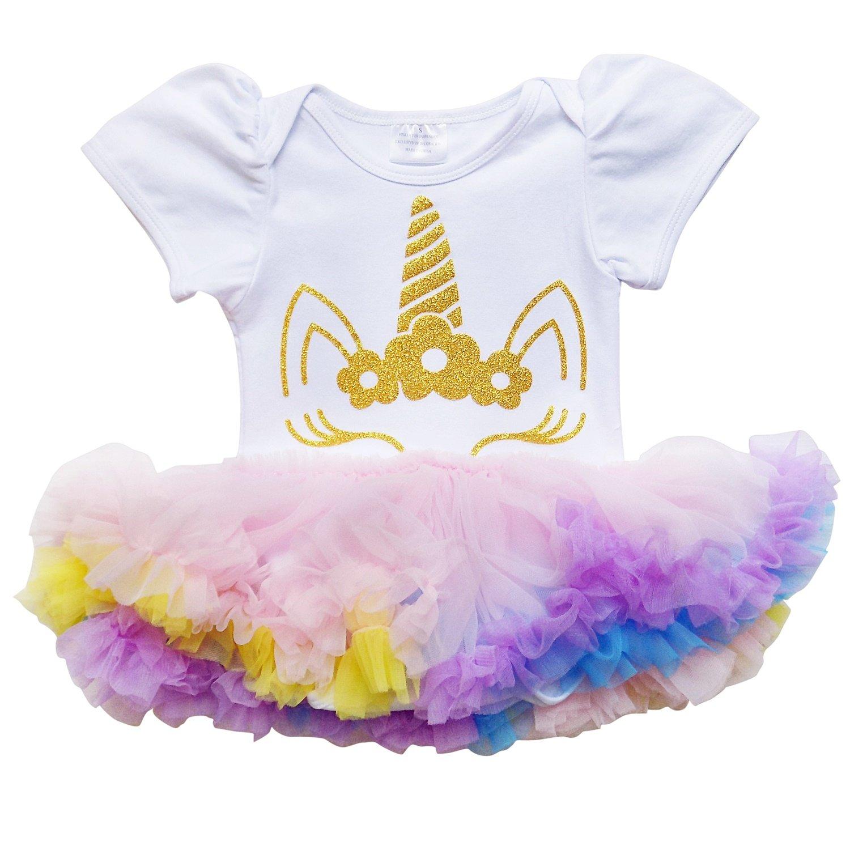 So Sydney Girls Baby Infant Spring & Summer Chiffon Tutu Skirted Romper Set (XL (18-24 Months), Gold Unicorn)