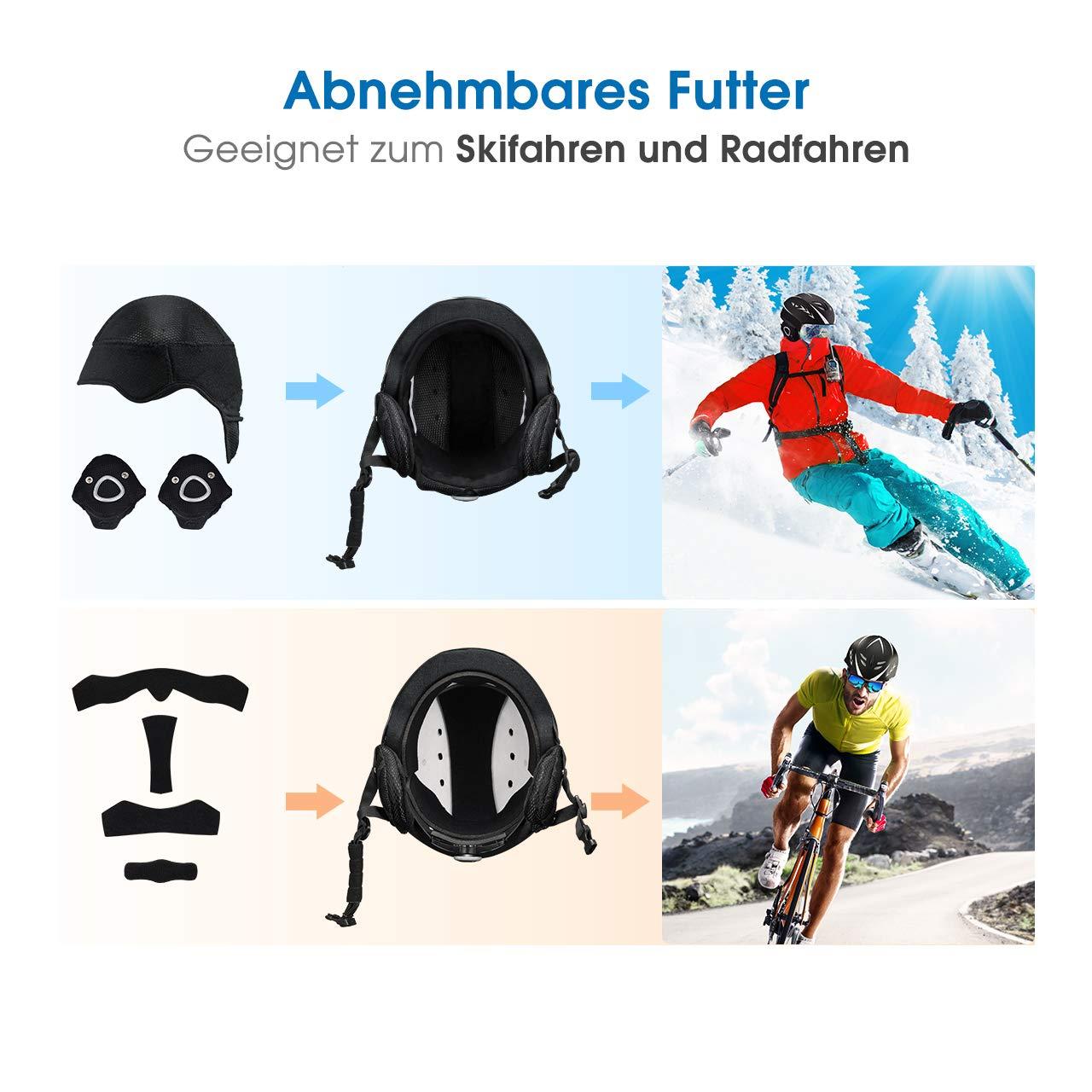Snowboardhelm f/ür Skifahren OMORC Skihelm Snowboarden Winter und Sommer Universalhelm Erwachsene Outdoor Sporthelm Verstellbarer Kopfumfang mit Steuerbarer Bel/üftung Radfahren Skaten