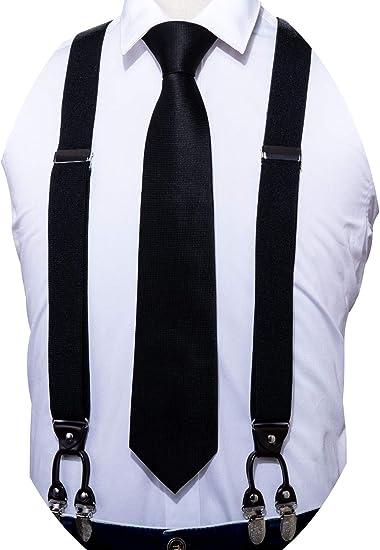 Mens Braces Colorful Paisley 6 Clips Heavy Duty Elastic Suspenders Bowtie Set