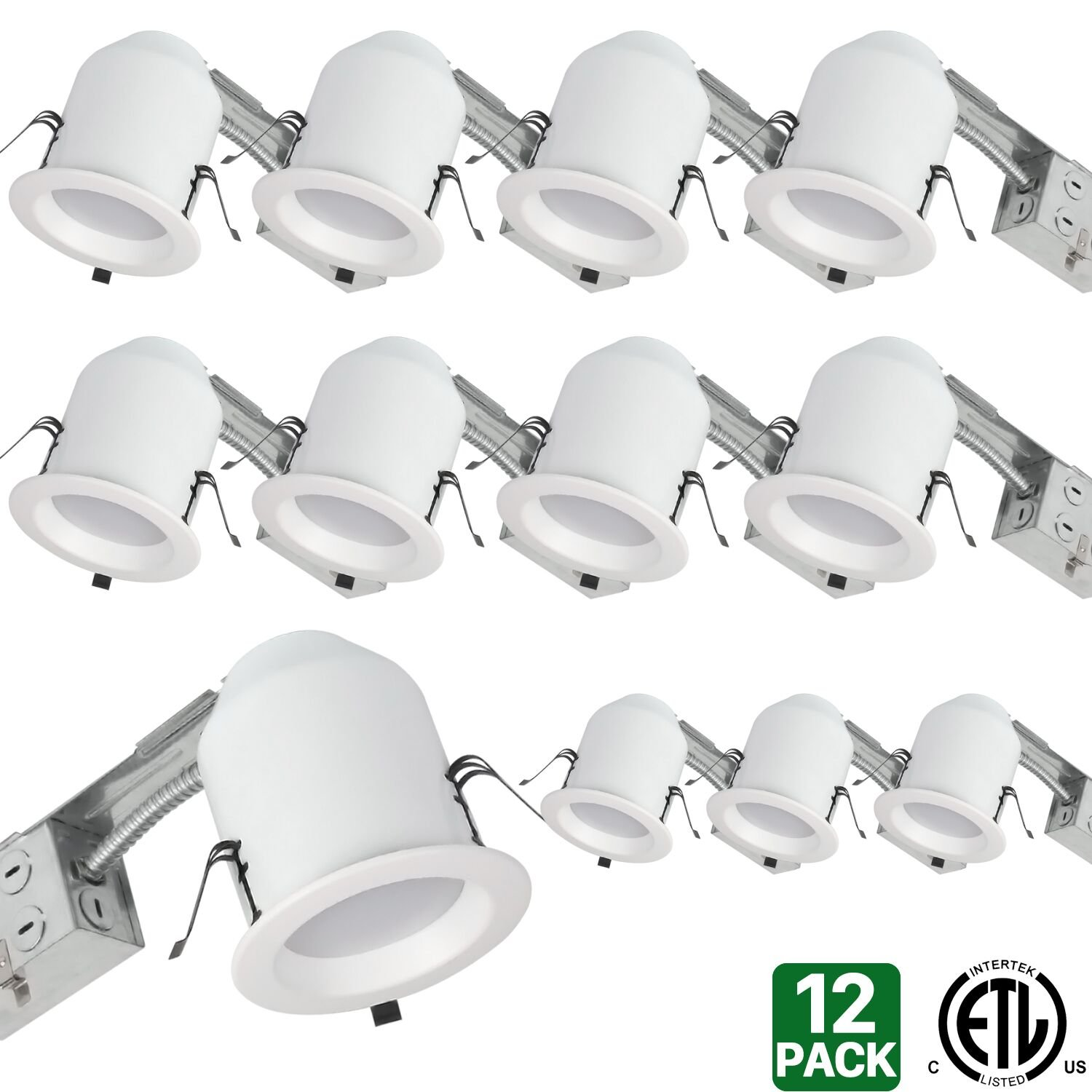 Hykolity 4 white led remodel recessed lighting kits ic rated hykolity 4 white led remodel recessed lighting kits ic rated remodel housing and dimmable led downlight damp rated 10w 700lm 3000k warm white pack of 12 aloadofball Images