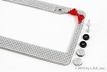 Rot Weiß Silber Fliege Kristall Glitzer Strass Nummernschild Rahmen Auto Auto