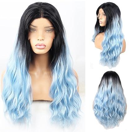 Peluca para mujer, de Stylistlee, de cabellera larga y ondulada en 2 tonos (