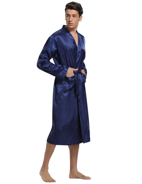 Hawiton Herren Morgenmantel Lang Satin Bademantel Kimono Robe Nachtw/äsche V Ausschnitt mit G/ürtel