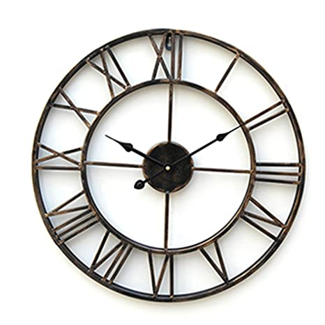 Reloj de pared grande, 20 moderno, de metal, diseño rústico y en relieve