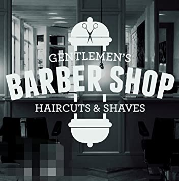 Amazon com barber shop vinyl window sticker decal hair dressers home kitchen