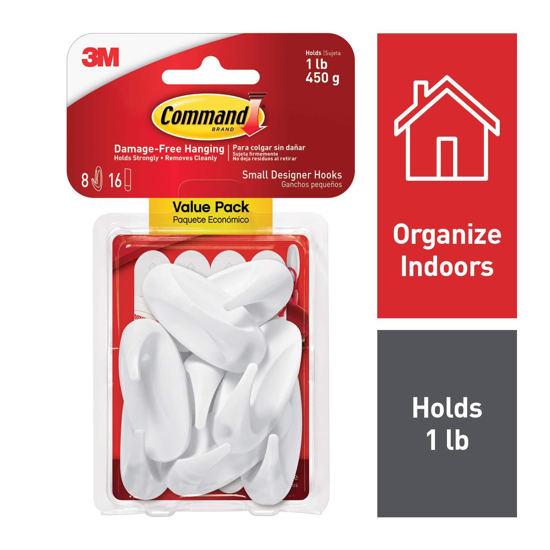 Command Designer Hooks, Small, White, 8-Hooks (17082-8ES)