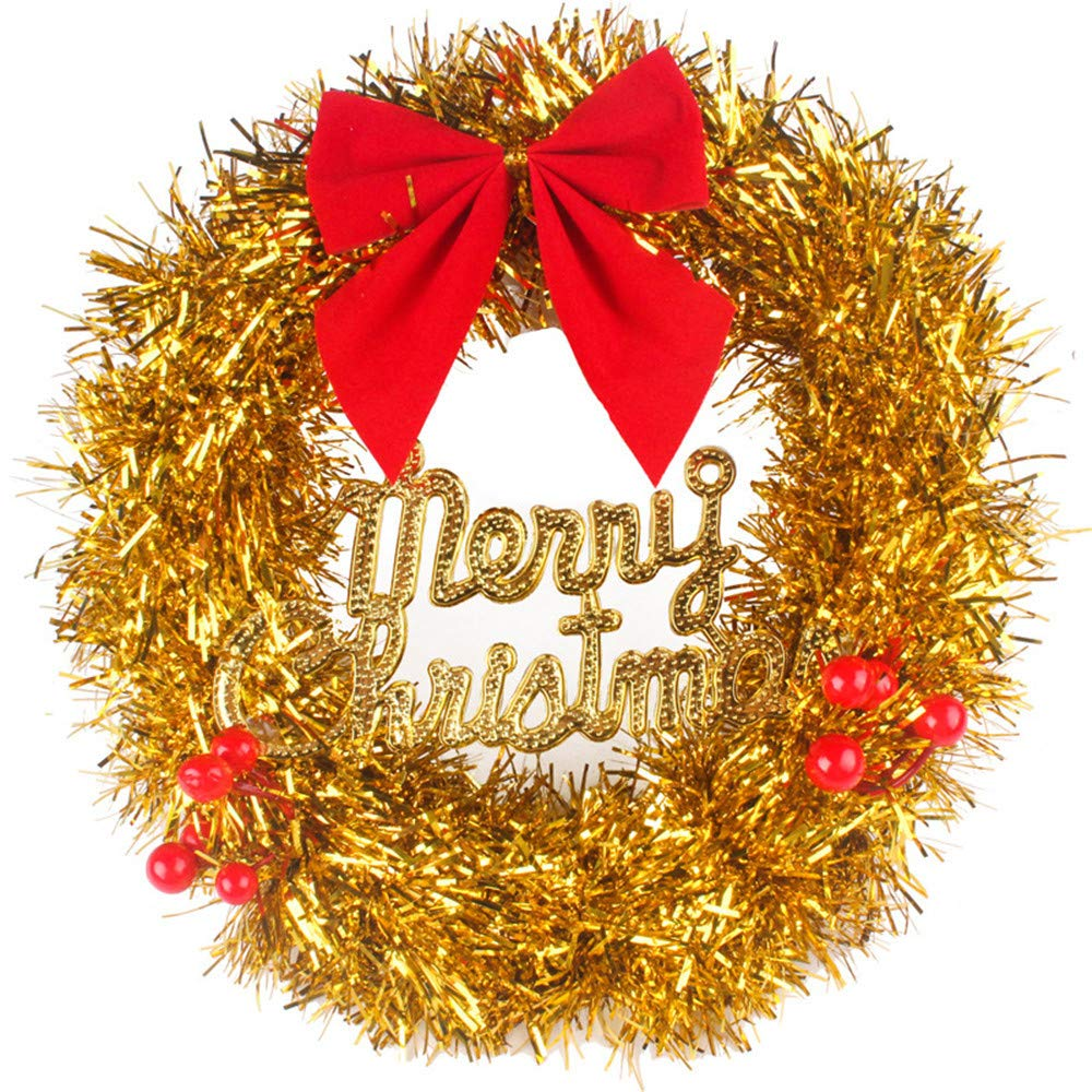 weijij 30cm DIY Artificial Rattan Red Flower Bow Hanging Wreath Hanger Christmas Decoration Party Front Door Wall Indoor Outdoor Yards Flower Decorations Garland Fall Ornament (Gold)