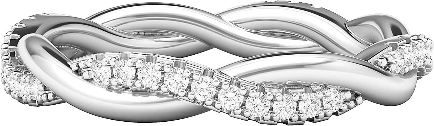 Sterling Silver Petite Twist Full Eternity Ring Simulated Diamond Interwind Wedding Band Matching Ring For women