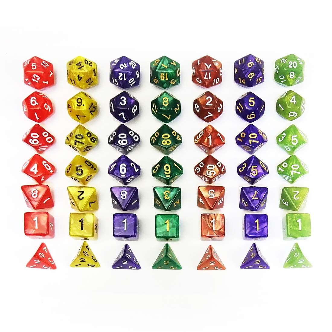 QMAY DND Dice Set, 140PCS Polyhedral Game Dice, 20 Color Double-Colors DND Dice Role Playing Dice for Dungeon and Dragons DND RPG MTG Table Games Dice D4 D8 D10 D12 D20 by QMAY (Image #7)
