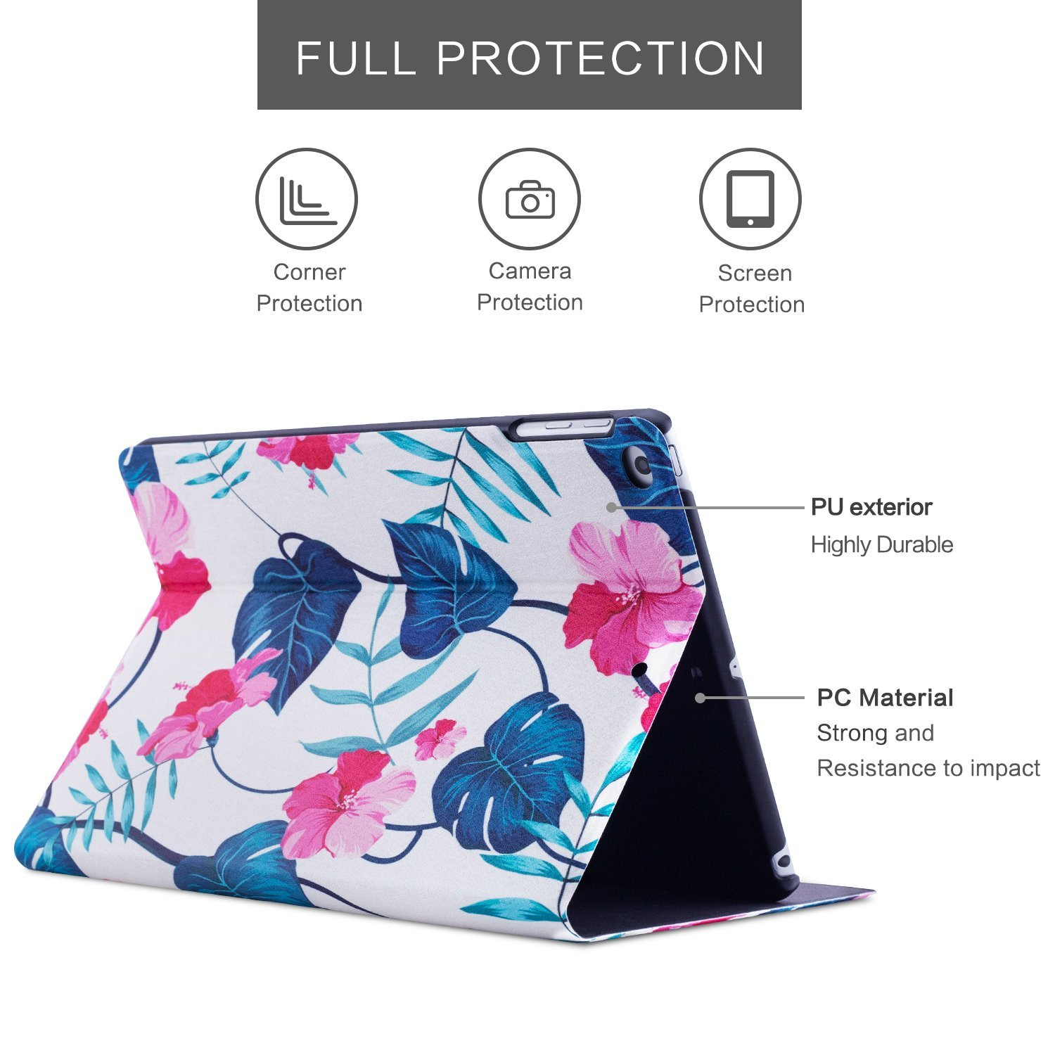 New iPad 9.7 inch 2018/2017 Case, Dopup Premium Leather Case, Protective hard shell Cover for Apple iPad Air Air 2 ipad 6th Generation 5th Generation with Auto Wake/Sleep (Pink Flower)
