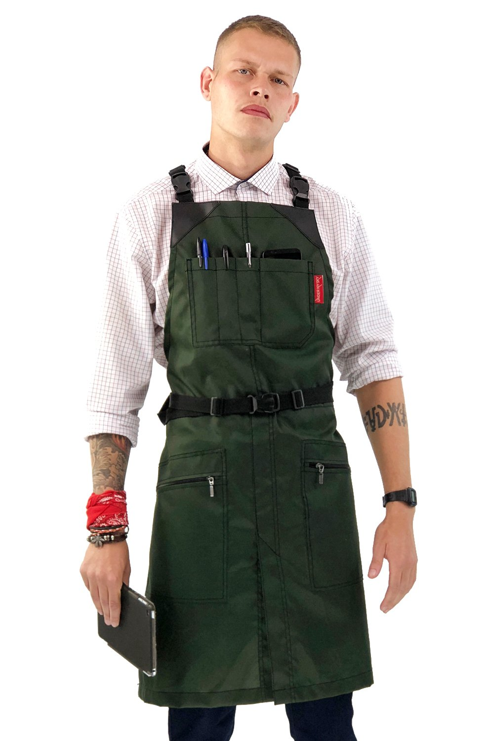 Under NY Sky Cross-Back Barber Green Apron – Heavy-Duty Nylon, Water and Chemical Resistant, Zipped Pockets, No-Tie, Split-Leg – Adjustable for Men, Women – Pro Hair Stylist, Salon, Colorist, Artist