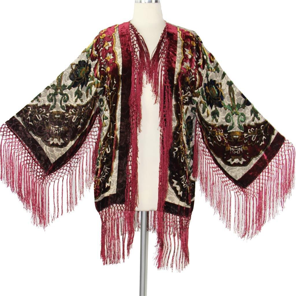 Shawls & Wraps | Fur Stole, Lace, Fringe Aris A Women Velvet Burnout Silk Fringe Kimono Jacket with Floral Details $159.99 AT vintagedancer.com