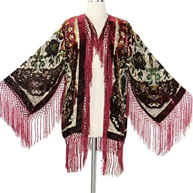 f2cdcf6517203 Amazon.com  Aris A Women Velvet Burnout Silk Fringe Kimono Jacket with  Floral Details  Clothing
