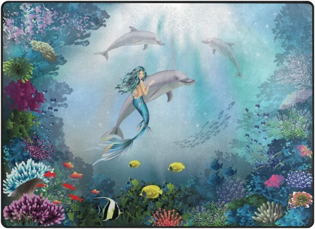Cooper Girl Underwater Dolphins and Mermaid Kids Area Rug Learning Carpet