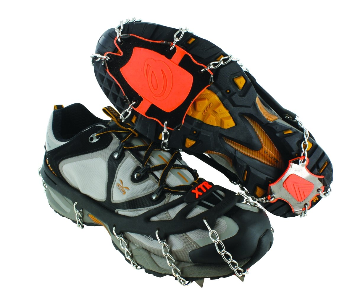 Yaktrax XTR Extreme Outdoor Traction Cleats for Snow and Ice (1 Pair), Black/Orange, Large