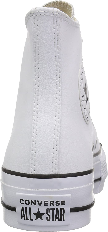 Converse Ctas Lift Clean Hi Black/White, Sneaker a Collo Alto Donna Bianco White Black White 102