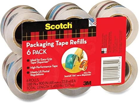 Scotch Package Tape REFILL ROLLS packing box 1.88 Inch x 900 Inch sealing NEW