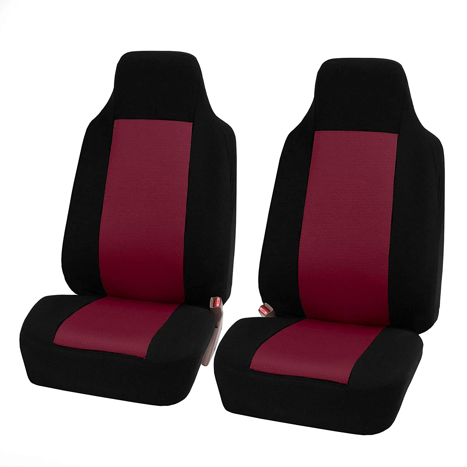 FH Group FB102BURGUNDY102-AVC FB102BURGUNDY102 Classic Cloth Pair Set Seat Covers Burgundy/Black-Fit Most Car, Truck, SUV, or Van